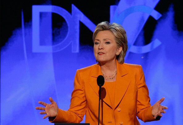 """Yeah, I get that """"orange is the new black"""" but seriously, you should be wearing orange in a prison Hillary, not as a pantsuit."""