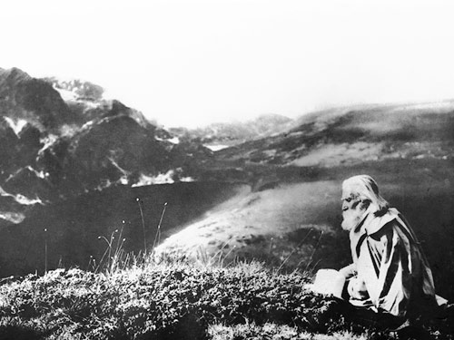 The Bulgarian spiritual master Peter Deunov, up in the Rila Mountains.