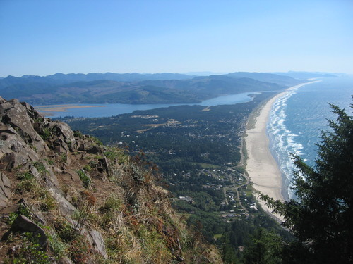 View from top of Neahkahnie Mountain. The seaside village of Manzanita along the shore, Nehalem Bay in the back and Wheeler on the opposite shore of the Bay.