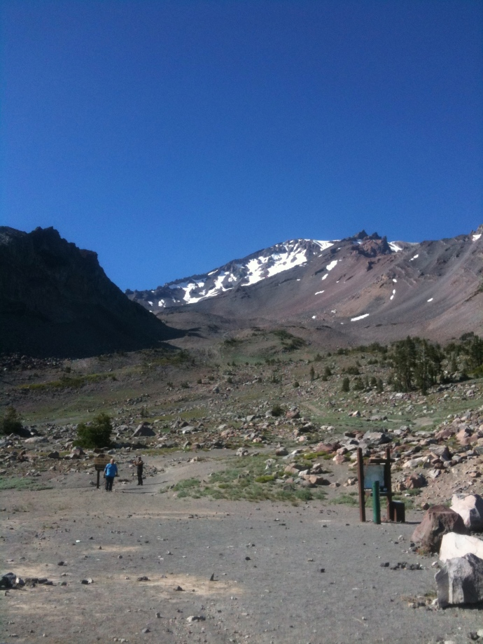 The end of the Shasta road, where the treeline vanishes completely. The hike begins here.