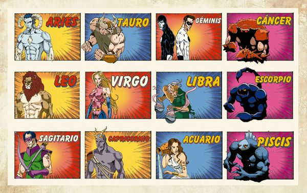 The tradition Western Zodiac in comic book form.