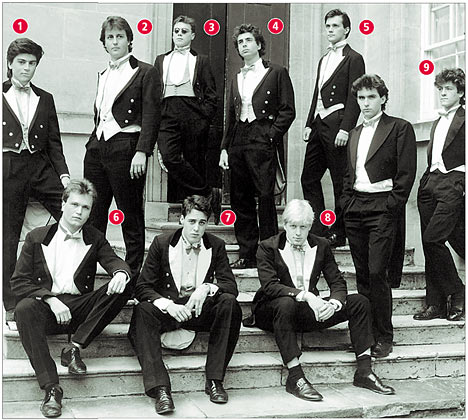 The infamous picture of Oxford University's Oxford University's Bullingdon Club - The Members circa 1987 including British PM, David Cameron and current mayor of London, Boris Johnson. If you want to know the other numbers, check it here.