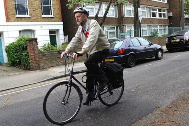New leader of the British Labour party, Jeremy Corbyn on his way to work in Parliament.
