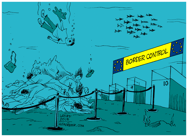 By Brazilian political cartoonist Carlos Latuff, on how most politicians in Europe would prefer to deal with the migrant problem.