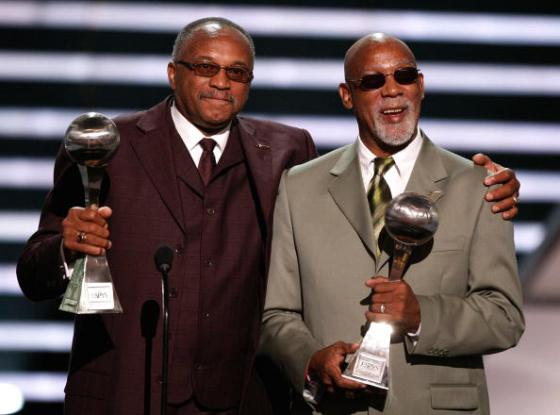 Tommie Smith and John Carlos accept the Arthur Ashe Award for Courage