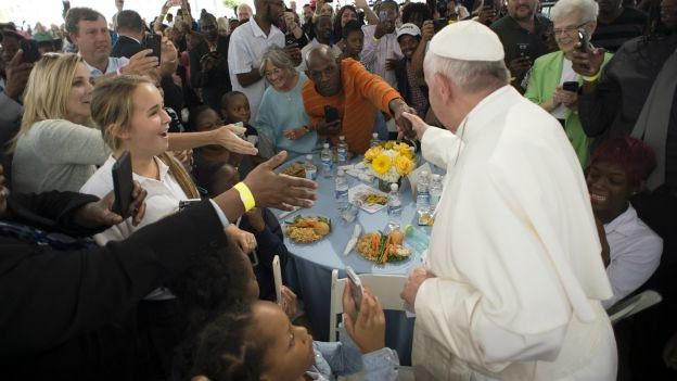 Pope Francis meeting the homeless in Washington, DC last week.