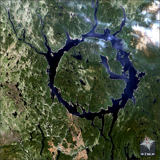 The Manicouagan meteor hit created this perfectly round lake and raised island, as seen from space.