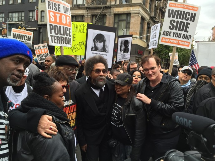 Tarantino, with another badass, Dr. Cornel West, a the demonstration