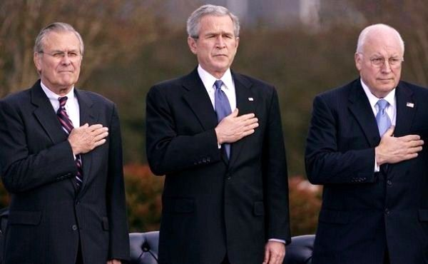 (L to R) Donald Rumsfeld, George W. Bush, Dick Cheney
