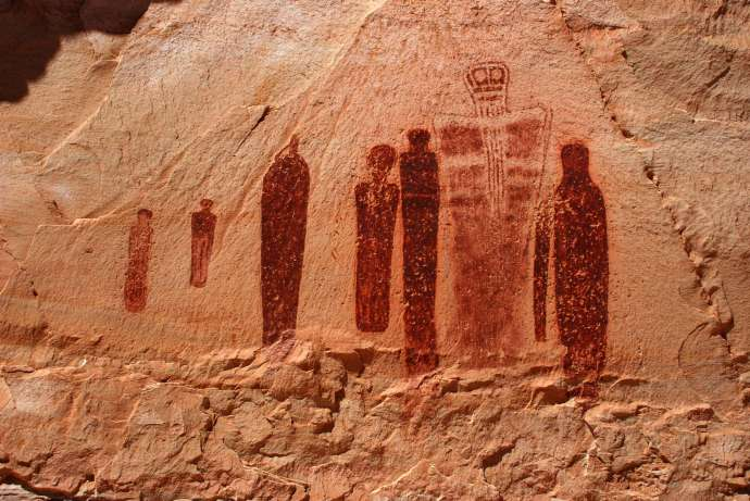 A small part of the Grand Gallery in Horseshoe Canyon, Utah. These figures are actually over 9 feet tall and come from 10 000 BC. the Hopi, Ute and Zuni tribes all claim its theirs but no one really knows.  One of the earliest depictions of a spiritual being in the world. When I saw this place, it was a 3 mile hike through the canyon from the main road, and 2 park rangers were there cleaning up after a flash flood. They let me go right u to it.