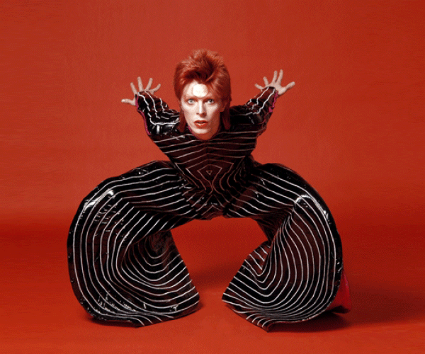 Bowie in the famous Masayoshi Sukita pantsuit. Bowie had a love affair with avante-garde Japanese designers.