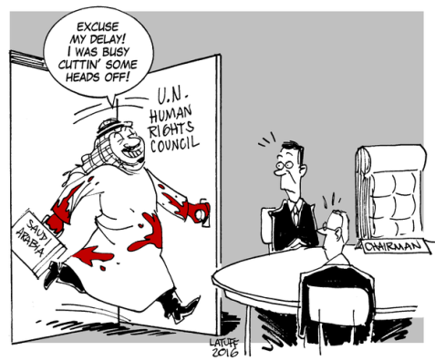 Carlos Latuff on Saudi's seat on the UN Human Rights Council.