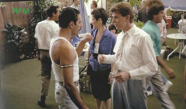 "David Bowie and Queen's Freddie Mercury backstage during 1985's Live Aid concert. They killed it when the performed 'Under Pressure"" together."
