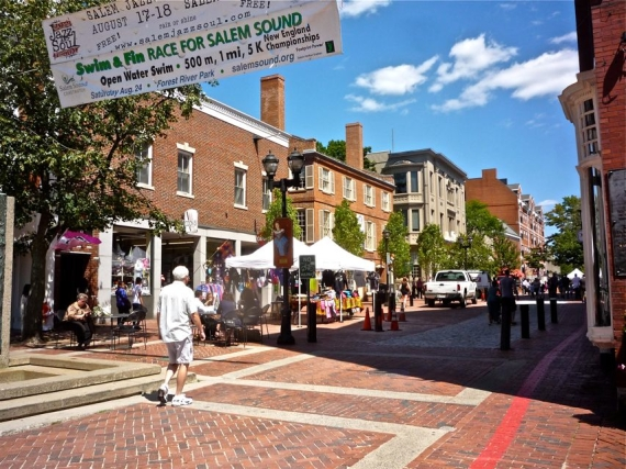 Pedestrianized Essex Street in the summer, in Salem, MA. Filled with occult shops if thats your thing.