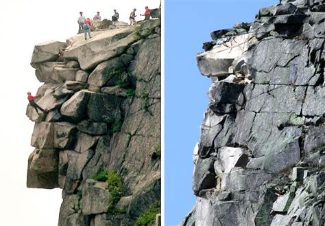 "New Hampshire's famous ""Old Man of the Mountain"", stood unchanged for hundreds of years and then about 13 years ago started to crumble away."