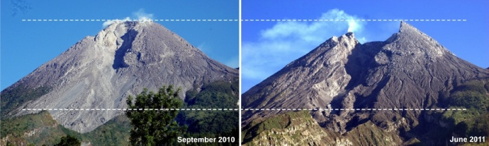 Before and after photo of the Merapi eruption in Indonesia.