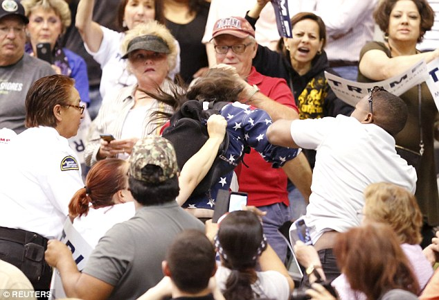 Fights broke out at Trump rallies all the time, usually along racial lines.