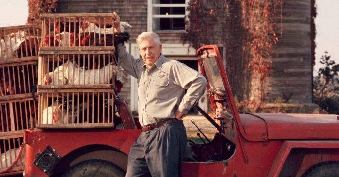 Wallace in 1962, with his chickens.