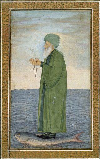 Mughal-era painting of Al-Khidr