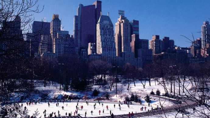 Agent Orange baby Fists now has his name on this rink. Central Park, looking south.